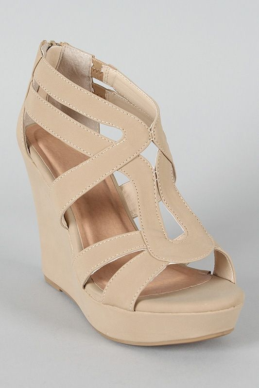 Strappy Open Toe Wedge in nude