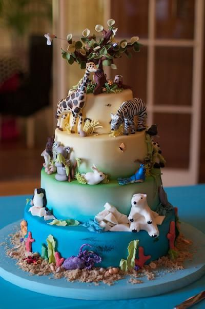 All Kinds Of Animals On This Childrens Multi Tier Cake