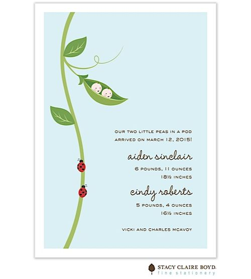 This twins baby shower invitation/ announcement is shown in the palest blue tone. It features a motif of TWO sweet pea babies and two lady bugs. Use any wording