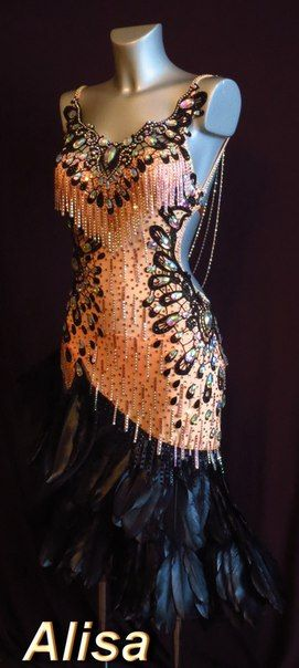 Unusual but interesting Latin dress with beaded fringe, crystals and feather finish in peach and black