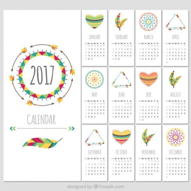 Boho de style 2017 modèle de calendrier Vecteur gratuit