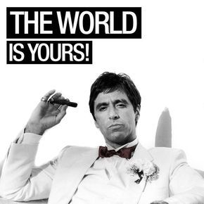 The World is Yours! #AlPacino #AlfredoJamesPacino #Actor #Filmmaker #Scarface #Godfather #Gangster #BrianDePalma #MartinBregman #GiorgioMoroder #PushItToTheLimit #TheWorldIsYours #Power #Money #Status #Success #Character #PaulEngemann #Crime #Movie #1983 #TonyMontana #Tony #Montana #MichellePfeiffer