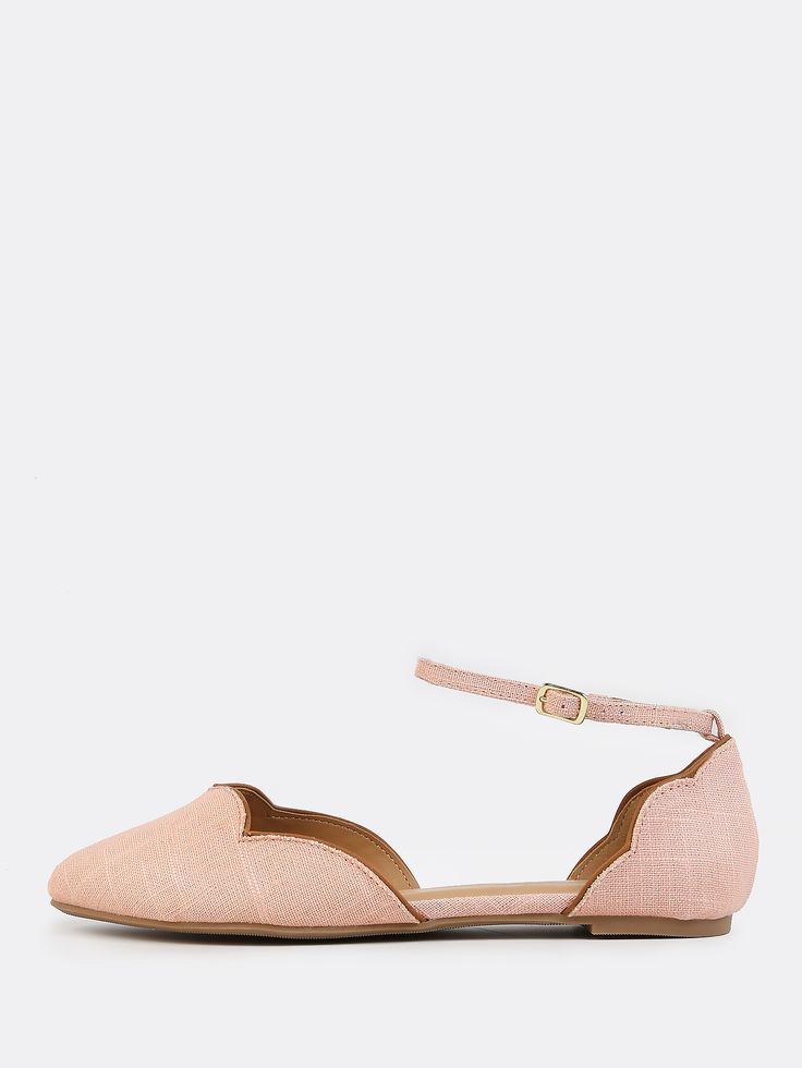 Shop Scallop Ankle Flats BLUSH online. SheIn offers Scallop Ankle Flats  BLUSH & more to