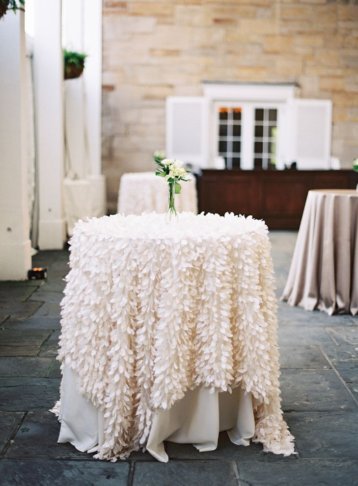 ivory feather linen over cocktail table blooms by plantscaping kirkbrides lauren gabrielle. Black Bedroom Furniture Sets. Home Design Ideas