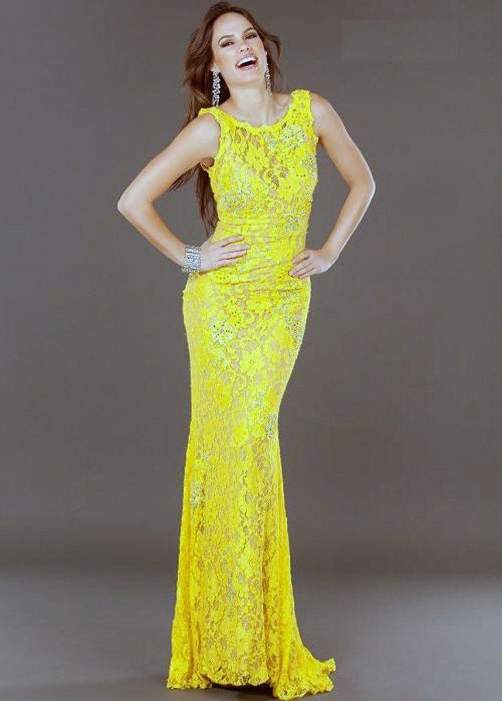 Jovani Long Lace Evening Dresses Yellow