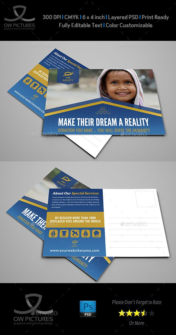 Kids Charity Postcard Template Vol.2 - #Cards & #Invites #Print Templates Download here: https://graphicriver.net/item/kids-charity-postcard-template-vol2/19751496?ref=alena994