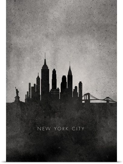 Black and White Minimalist New York City Skyline