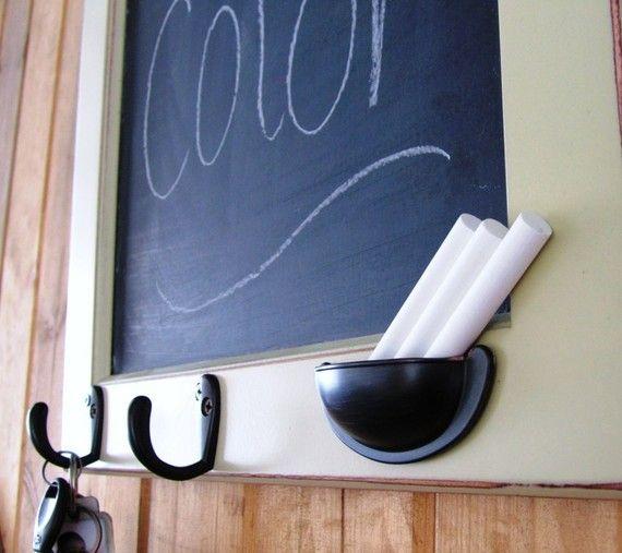 Framed Chalkboards ((Upside-down drawer pull as chalk keeper))