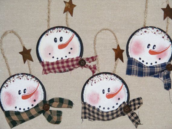 These rosey cheeked snowmen are ready to hang around your house for the holidays! These cute little guys were made from jar lids, adorned with a
