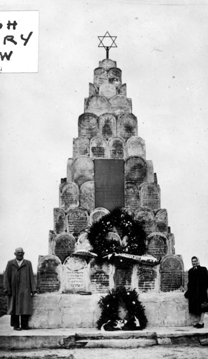 Lukow, Poland, A monument in a Jewish cemetery, made out of shattered tombstones,
