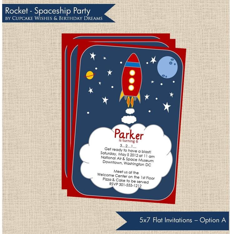 Space Ship Printable Birthday Invitation