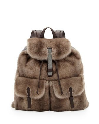 Mink Fur Backpack, Brown by Brunello Cucinelli at Neiman Marcus. 7830$