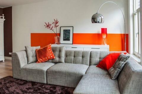 Серо-оранжевый интерьер