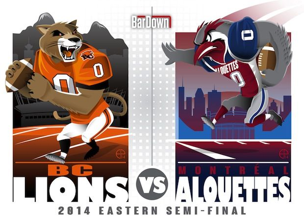 #EPoole88 (Eric Poole) is at it again, this time with the CFL. Here is his rendition of the Eastern Division semifinal matchup between B.C. and Montréal.