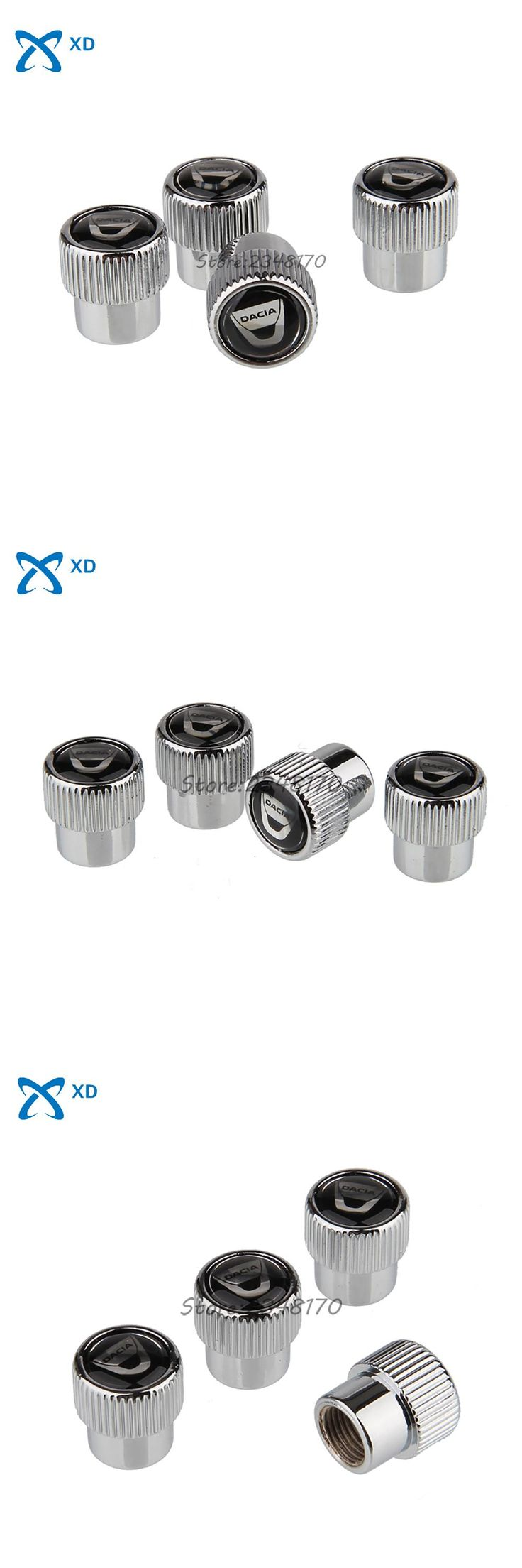 [Visit to Buy] 4Pcs/set New High Quality Airtight Cover Stainless Steel Wheel Tire Valve Stems Caps For Dacia Duster Logan Lodgy Sandero Dokker #Advertisement