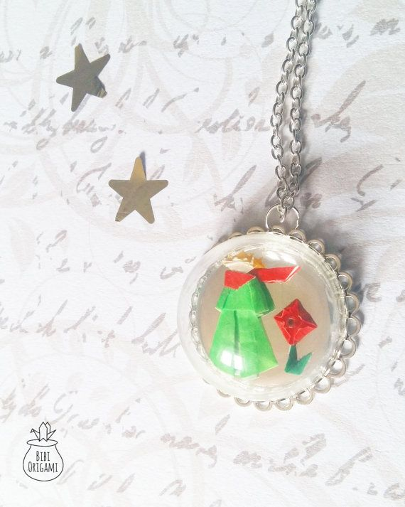 Origami Little Prince and his rose Globe Bottle Pendant