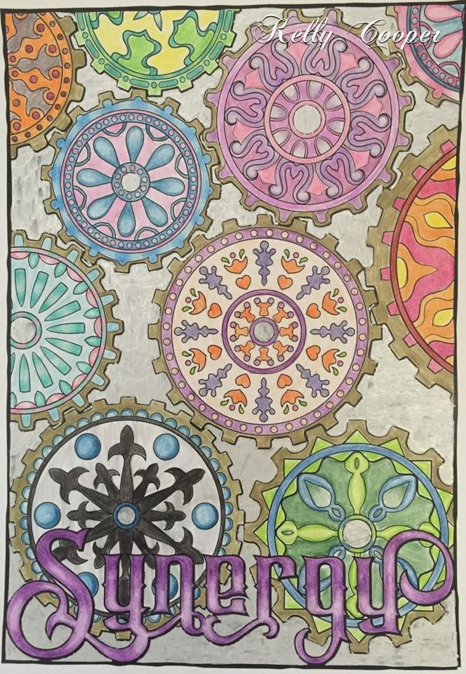 This design is included in OrnaMENTALs™️ Feel Good Words To-Go Portable coloring book, along with 49 other amazing and uplifting designs by Sue Chastain. Design pictured was colored and suggested by Kelly Cooper.