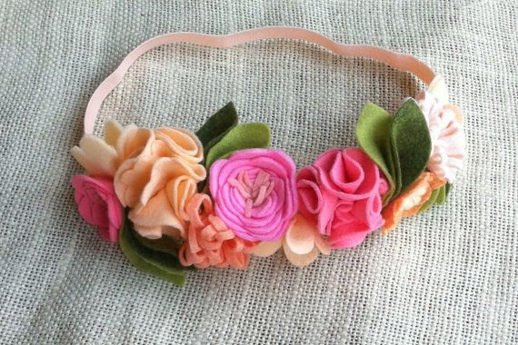 Felt Flower Crown // Coral, Peach + Pink // Birthday Party Crown // Fairy Princess Headband