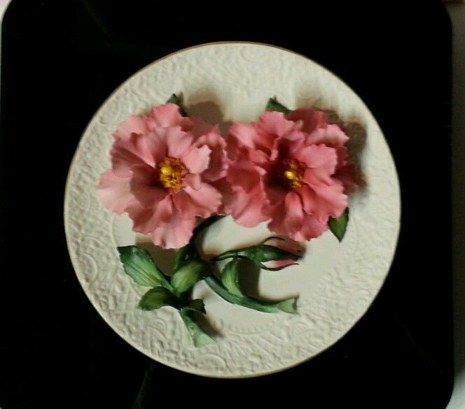 Franklin Mint 3D Plate - Pink Roses of Capodimante - Certificate of Authenticity