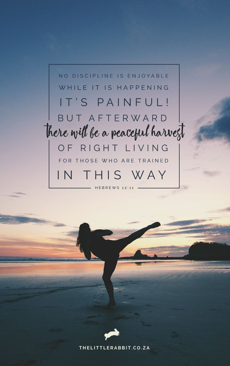 No discipline is enjoyable while it is happening—it's painful! But afterward there will be a peaceful harvest of right living for those who are trained in this way. Hebrews 12:11