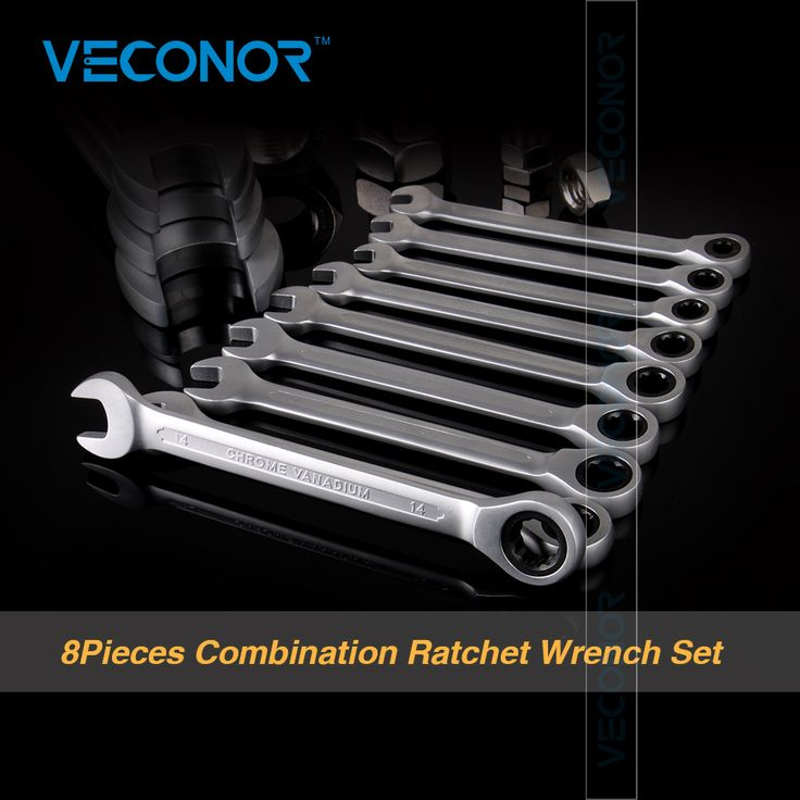 Veconor 8pcs/set Ratchet Spanner Combination Wrench Set Ratchet Handle Key Chrome Vanadium 8,10,12,13,14,15,17,19mm //Price: $56.64      #sale