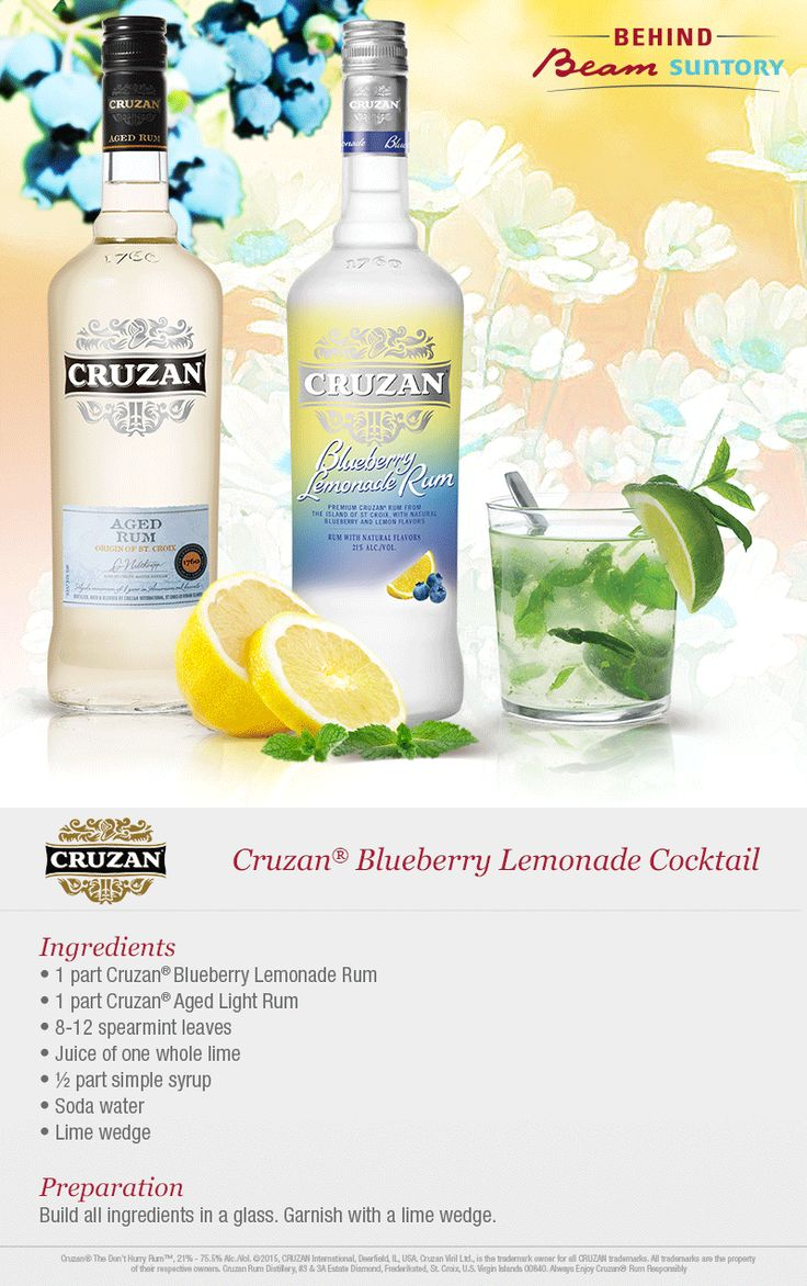 Fresh flavors and summery sips are a must for spring and summer. Mix up a cocktail with Cruzan blueberry lemonade rum.