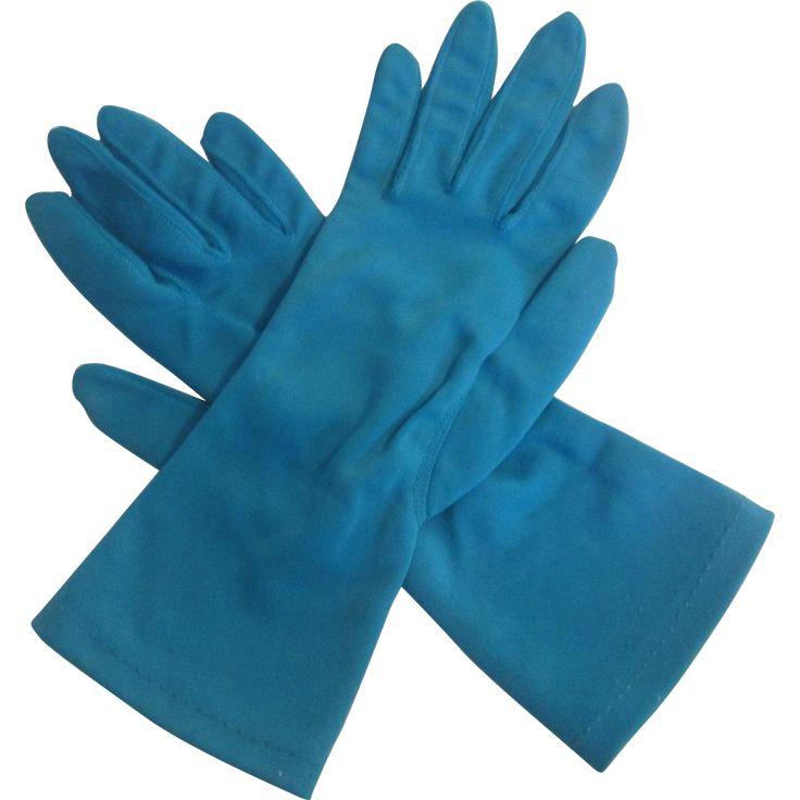 Turquoise Blue Gloves Vintage 1960s Nylon