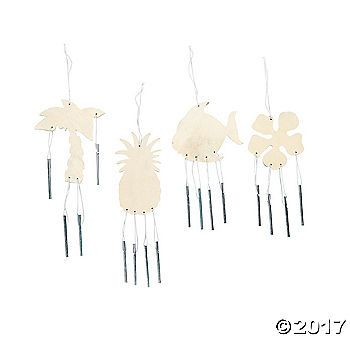 Do It Yourself Wood Tropical Wind Chimes. Paint several of these DIY wood crafts! Color the unfinished wood shapes with your own wood markers or acrylic ...