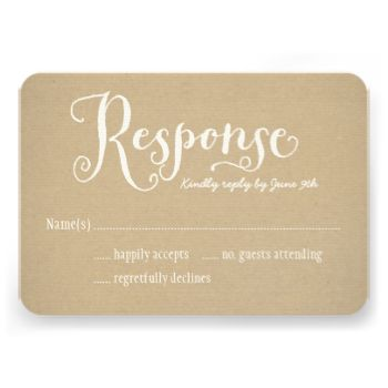 "Wedding RSVP cards feature ""Response"" in charming white script, custom text that can be personalized, and a background with a rustic kraft brown paper textured appearance. #wedding #rsvp #response #reply #custom #template #design #kraft #country #rustic"