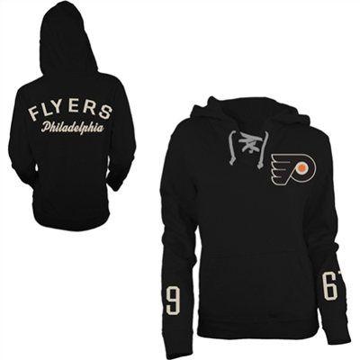 Old Time Hockey Philadelphia Flyers Women's Queensboro Lace-Up Hooded Sweatshirt