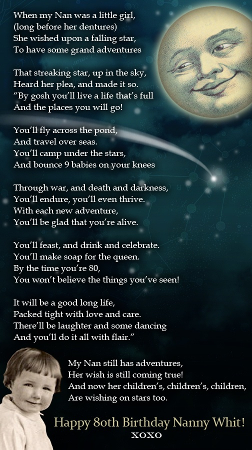 A Poem To My Fabulous Granny On Her 80th Birthday
