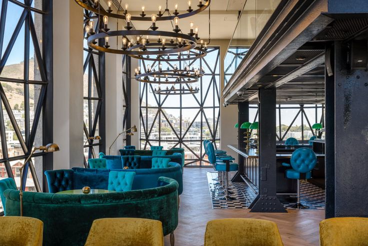 The Silo hotel in South Africa boasts a stunning interior and beautiful, geometric floor to ceiling windows.