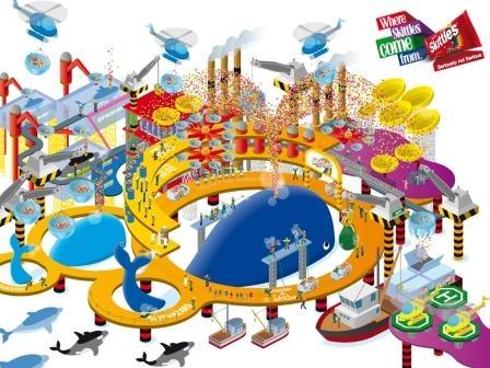 Campaign: Where Skittles Come From: Rainbow Whale Harvesting Helicopters / Advertiser: Wrigley / Agency: Impact BBDO Dubai / Country: UAE / Executive Creative Director: Fouad Abdel Malak / Creative Director: Sebastian Alvarado / Art Director: Mohammed Diaa / Copywritter: Darren McCall / Award: Illustration Sapphire