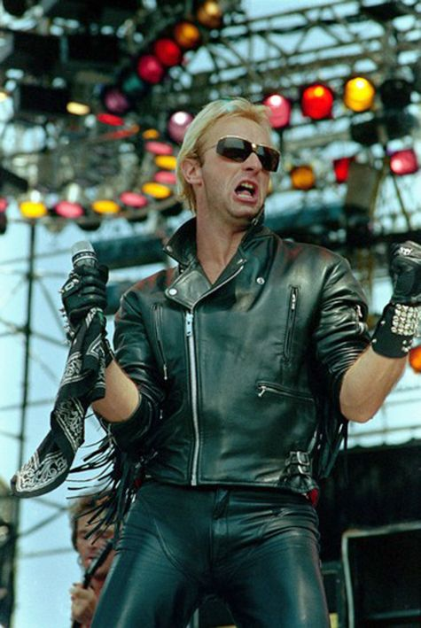 Judas Priest's Robert Halford on stage at Live Aid, JFK stadium Philadelphia, 1985