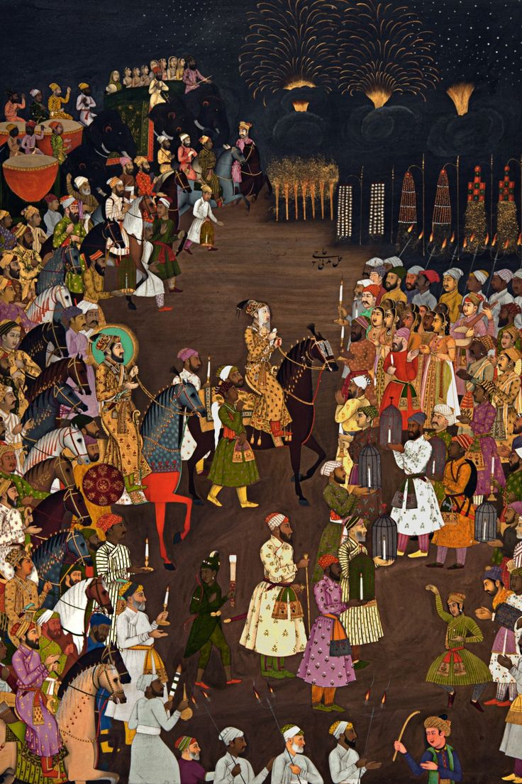 An illustrated manuscript of the Mughal Emperor Shah Jahan attending the marriage procession of his eldest son Dara Shikoh. Mughal-Era fireworks were utilized to brighten the night throughout the wedding ceremony (c.1740).