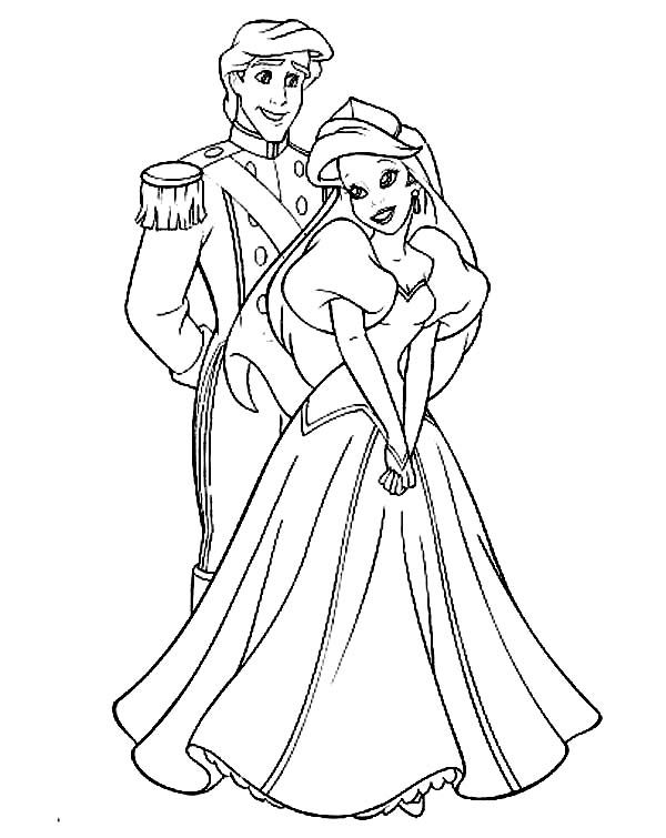 Ariel Perfect Couple Prince Eric And Ariel Coloring Page