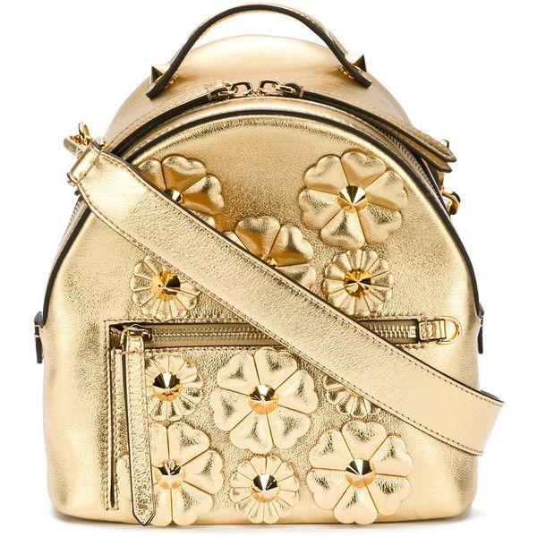 Fendi floral embellished shoulder bag ($2,285) ❤ liked on Polyvore featuring bags, handbags, shoulder bags, day pack backpack, floral print backpack, shoulder strap bags, zip shoulder bag and beige backpack