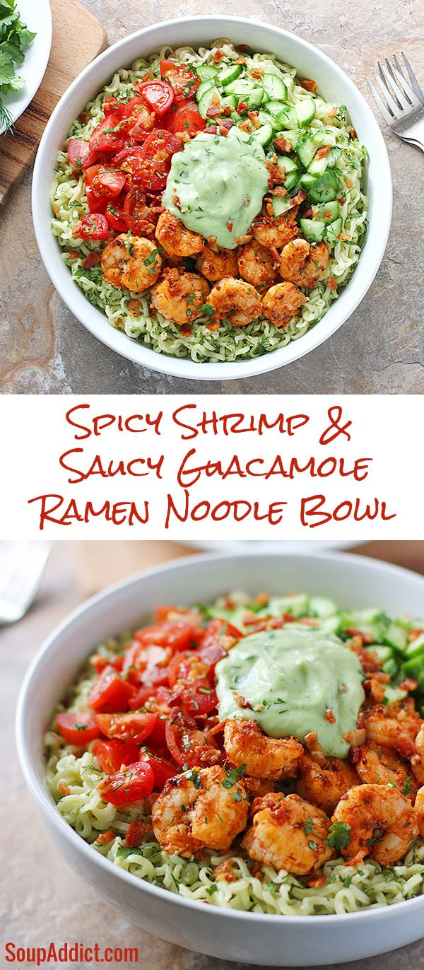 Spicy Shrimp & Saucy Guacamole Ramen Noodle Bowl - so fresh and flavorful with herbs, veggies, creamy avocado, and shrimp with just the right amount of kick.
