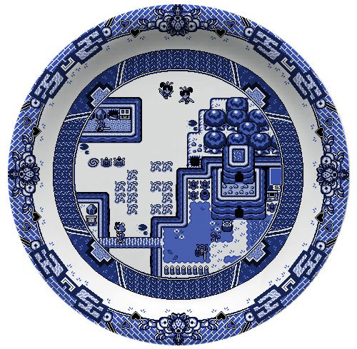 Blue Willow Video Game Dinnerware Pattern by Olly Moss