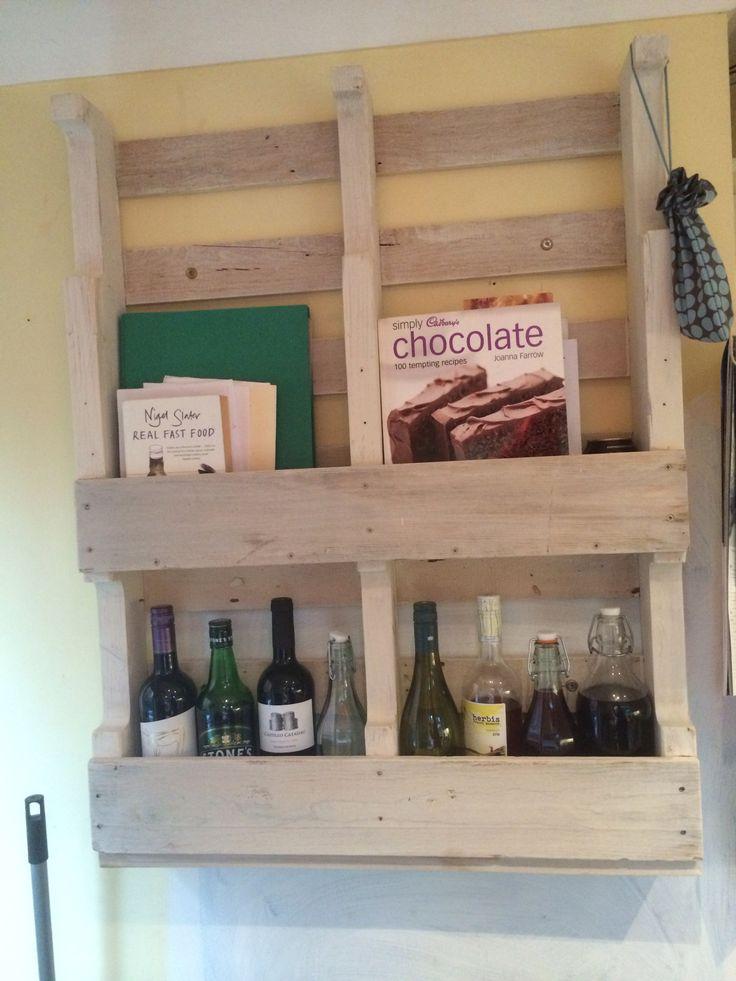 Pallet wine rack / bookshelf. Whitewashed