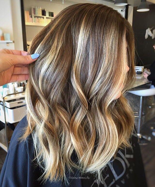 light/medium brown hair with blonde balayage