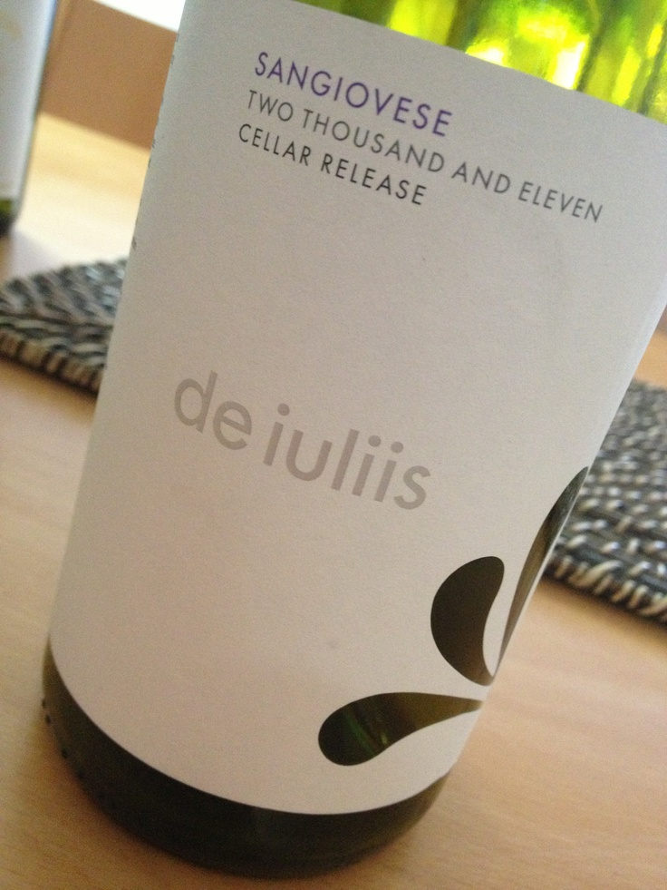 Fabulous Sangiovese from de Iuliis wines in the Hunter valley. Great match with pizza and pasta. $25.00 www.dewine.com.au