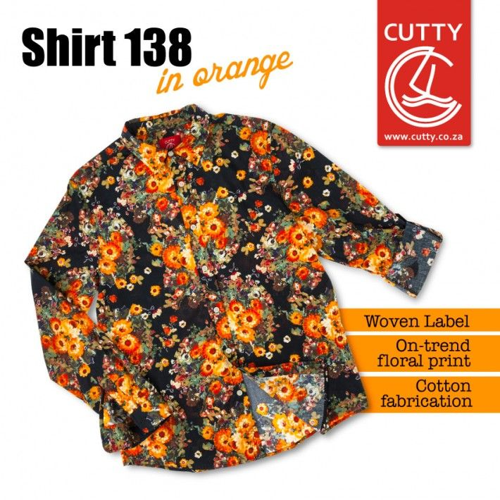 Meet our hottest statement shirt yet. Made from a cool and comfortable cotton, Cutty's Shirt 138 features a fun floral print in a bright and bold orange colourway. Wear it with your favourite Cutty bottoms, a smile and take a touch of summer with you wherever you go.