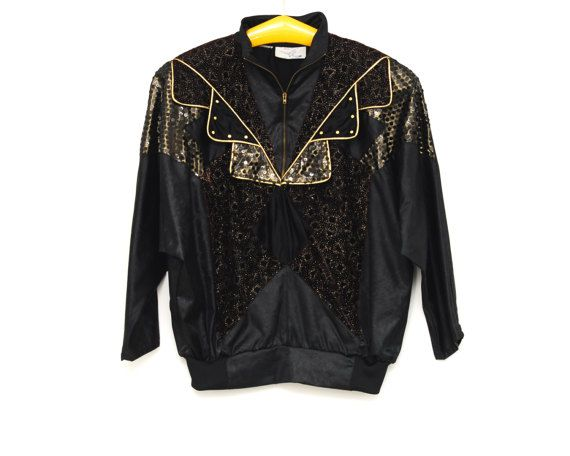 Vintage Peter and Jo Paris sequins slip on jacket, plus size silky fabric black and golden top with zip, collar, 1980s retro fashion France by Aerosvar