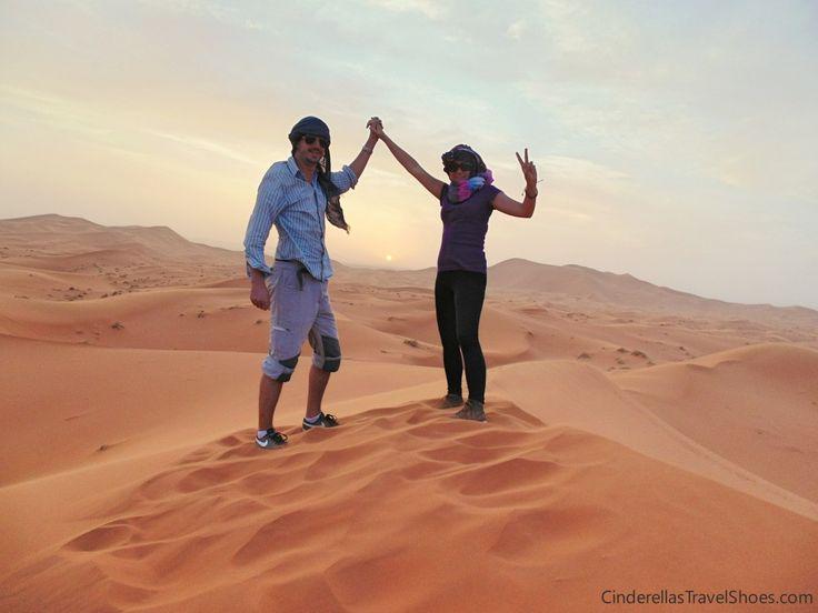 On top of dune in Sahara desert during sunset