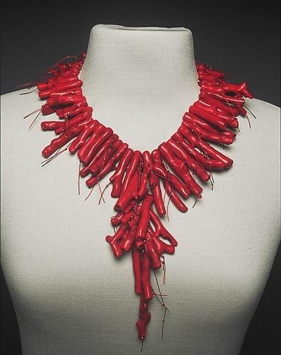 Necklace | Sandy Swirnoff.  'Firecracker'.  Fiber and branch coral