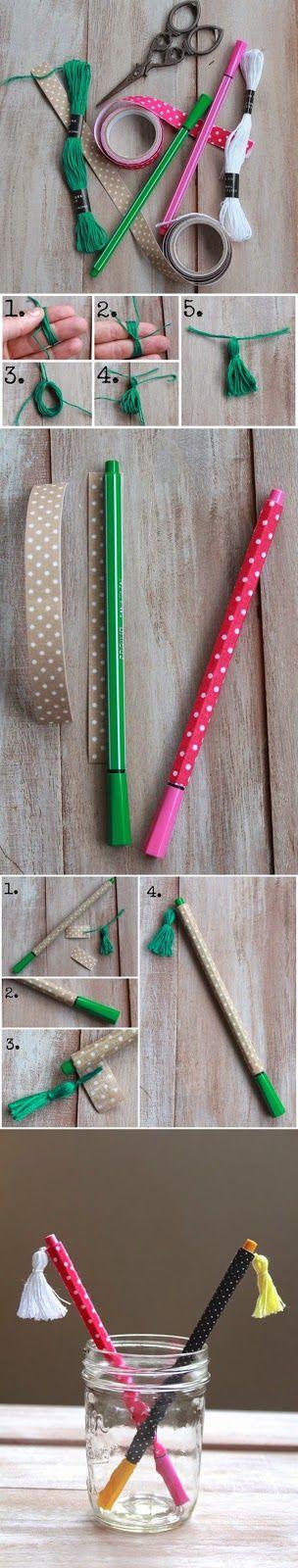 Relasé: Penne rivestite con il nastro DIY - tutorial fotografico