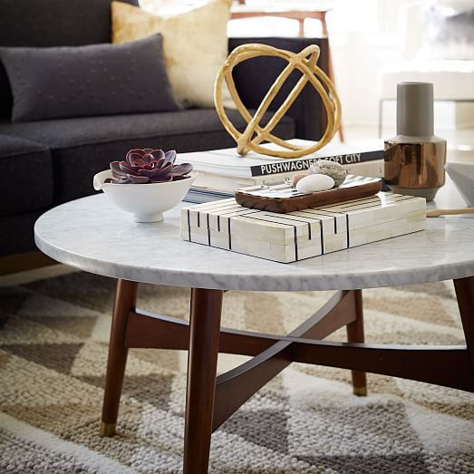 Reeve Mid-Century Coffee Table - Marble | West Elm (round or square?)