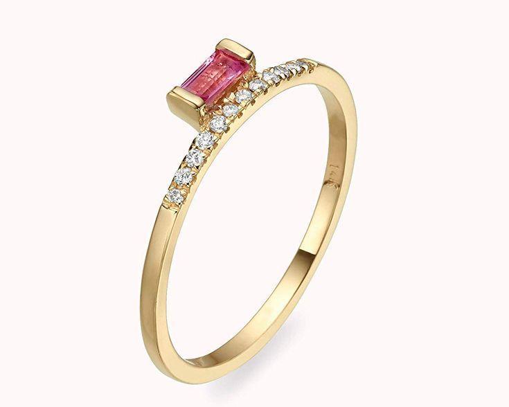 18K Rose Gold Plated women/'s wedding Ring Simulated Diamond