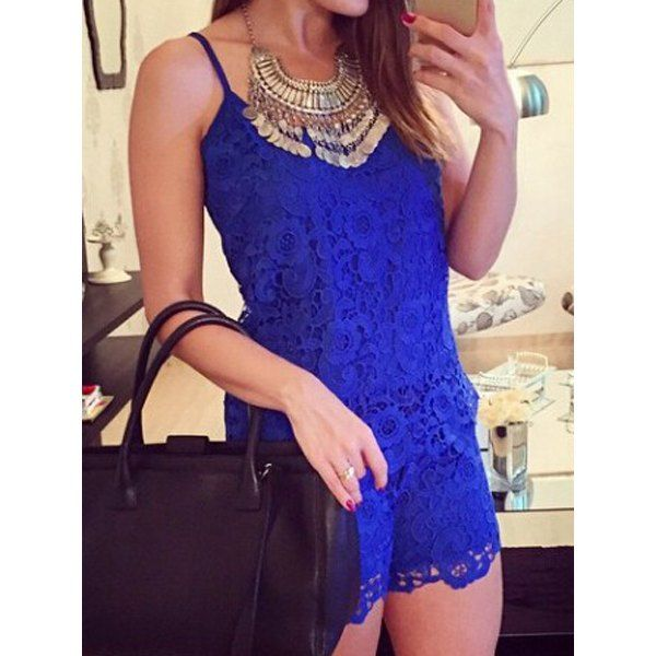 Wholesale Stylish Spaghetti Strap Sleeveless Solid Color Lace Women's Jumpsuit Only $9.66 Drop Shipping | TrendsGal.com